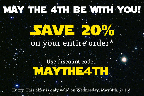 Save 20% with discount code MayThe4th
