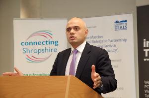 Sajid Javid MP during a visit to Telford