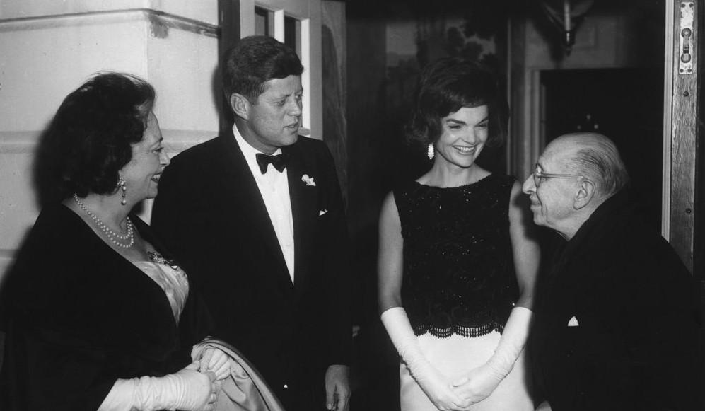 President and Mrs. Kennedy with Igor and Vera Stravinsky.