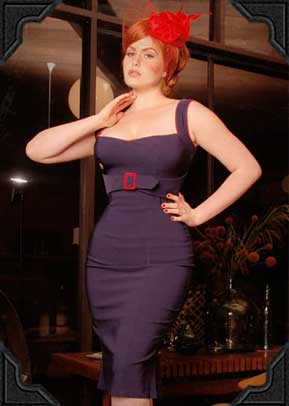 Jessica Dress by Pin Up Couture in Navy and Red