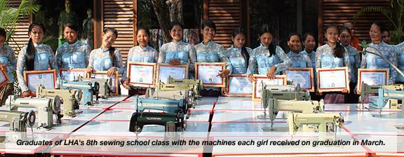 Graduates of LHA's 8th sewing school class with the machines each girl received on graduation in March.