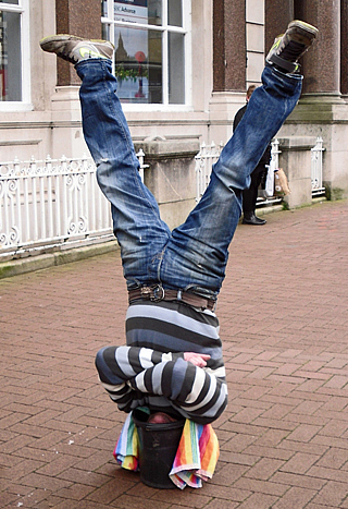 Man standing on his head
