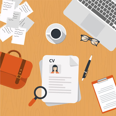 A graphic showing a desk with a CV