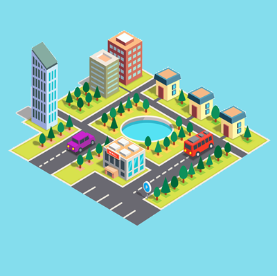 An isometric graphic representing the property industry