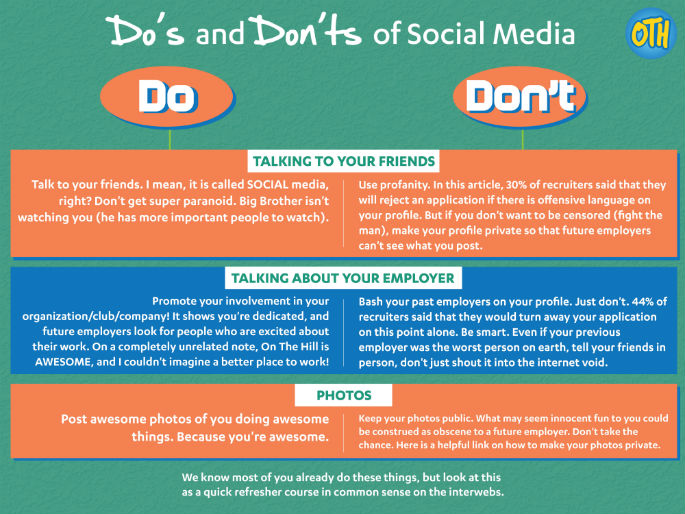 Social media dos and don'ts infographic