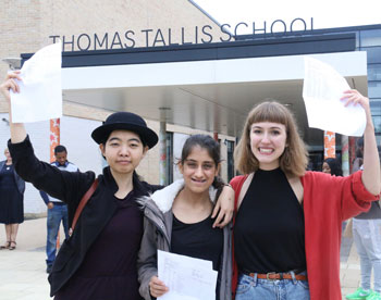 Students receiving their exam results
