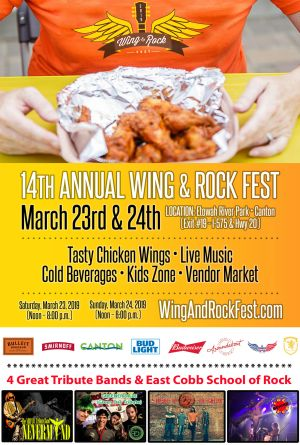 The South's Biggest Wing Fest with Foo Fighters, Green Day, Nirvana Red Hot Chili Peppers Trib Acts 17 Wings Joints