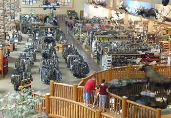 Photo of inside of hunting gear store.