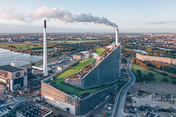 View of Amager Bakke, a combined heat and power waste-to-energy plant in Copenhagen, Denmark.