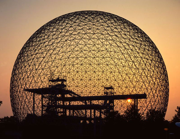 The Biosphere in Montreal, Canada — a geodesic dome designed by architect Buckminster Fuller.