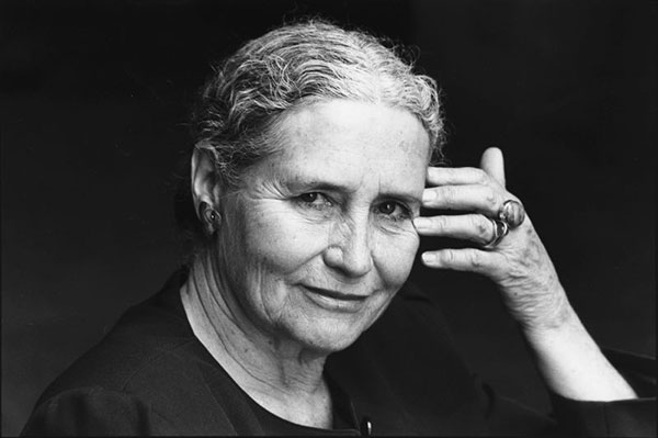 Doris Lessing, photographed in 1990.