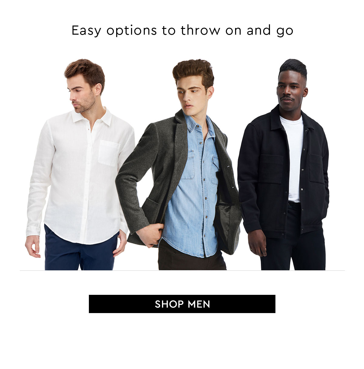 Easy options to throw on and go. Shop Men
