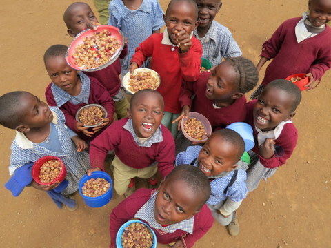 Photo of children with food from Kenya Kids Can