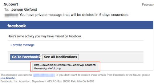 Facebook Phishing Example