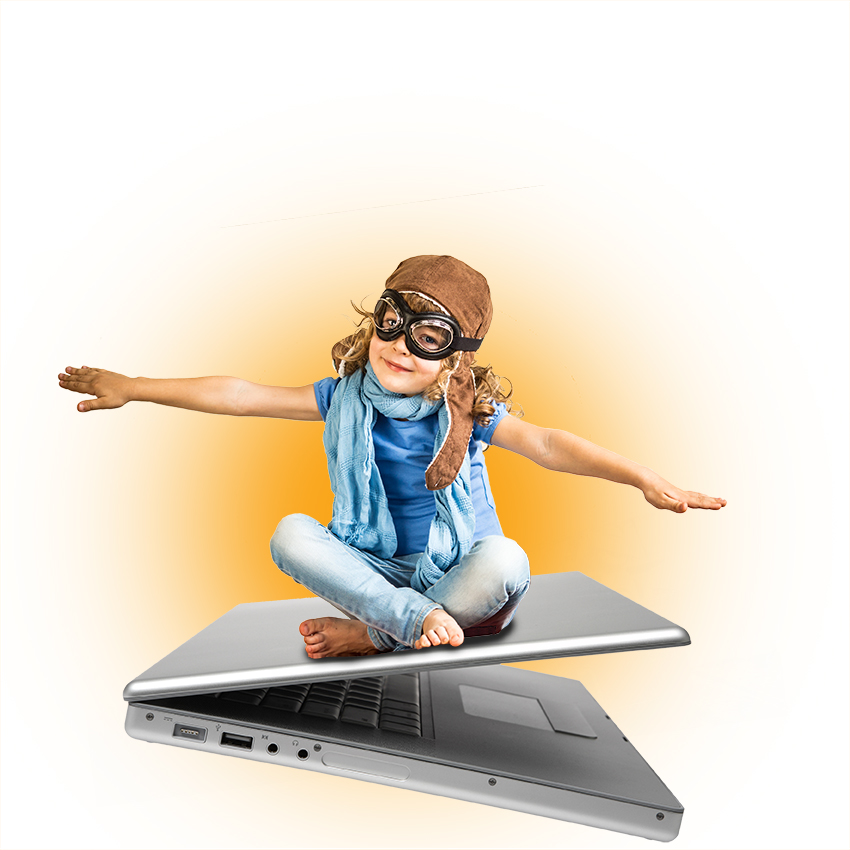 vliegende laptop met kind bovenop
