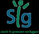 Logo SIG met ondertitel 'sterk in grenzen verleggen'
