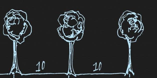 Voorbeeld van een visuele instructie bij een rekenopgave met bomen