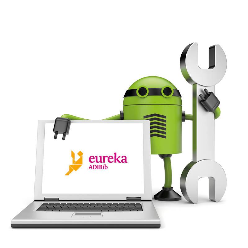 Een robot houdt een moersleutel en een laptop met het logo van Eureka ADIBib op het scherm vast