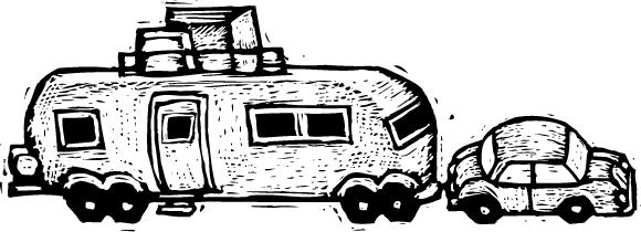 Car pulling travel trailer