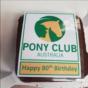 Square cake with PCA logo for birthday