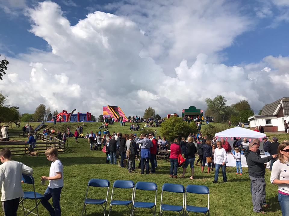 Murton Green event, looking up at the attractions on the hill