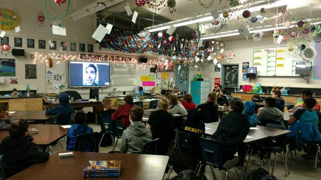 Photo of NASA video conference in classroom