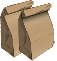 Two brown paper bag lunches side by side