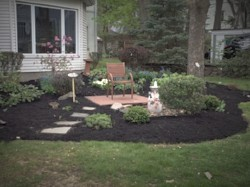 Bench in front of house amidst garden with stepping stones mulch, a small tree and bush on either side.