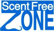 "Image has text that says ""Scent Free Zone"" with the profile of the tip and bottom of a nose superimposing over the bottom of the Z in Zone as negative space"