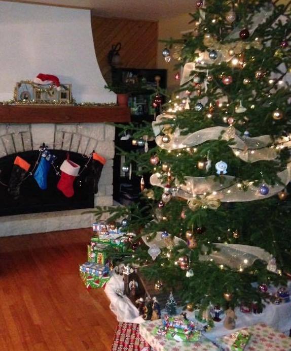 Sapin de Noël orné devant un foyer