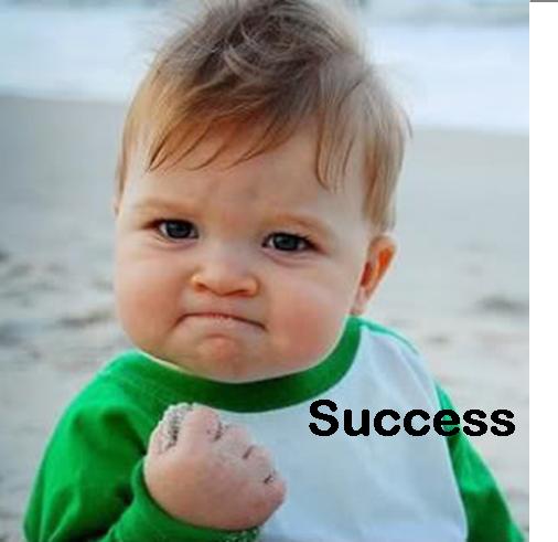 Fist-pumping baby: success!