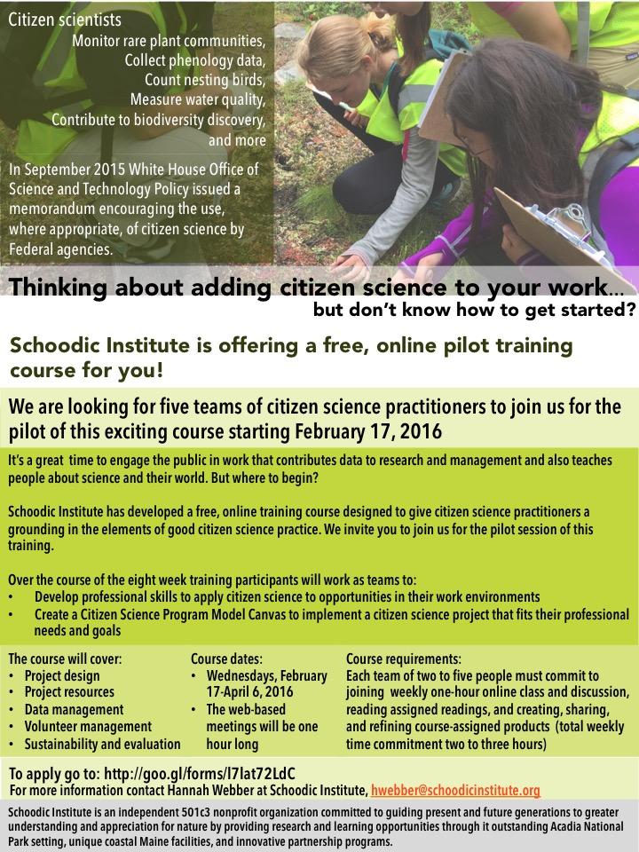 citizen science professional development course flier