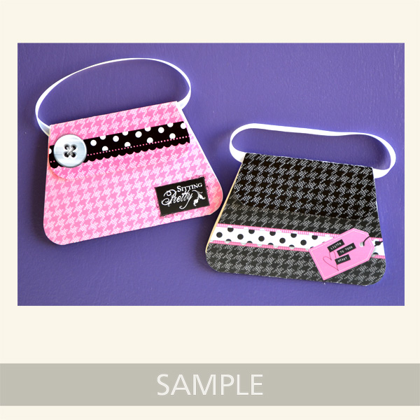 pink and black houndstooth purse cards