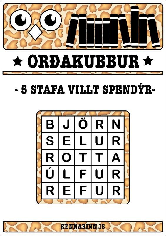Orðakubbar, villt spendýr
