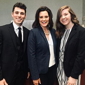 NMC students Emma Moulton and Isaac Dedenbach met Michigan Gov. Gretchen Whitmer