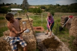 WWOOFers making compost