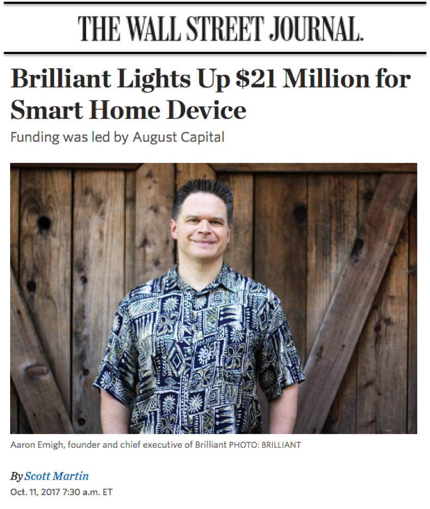 Brilliant's CEO, Aaron Emigh, featured in the Wall St. Journal.
