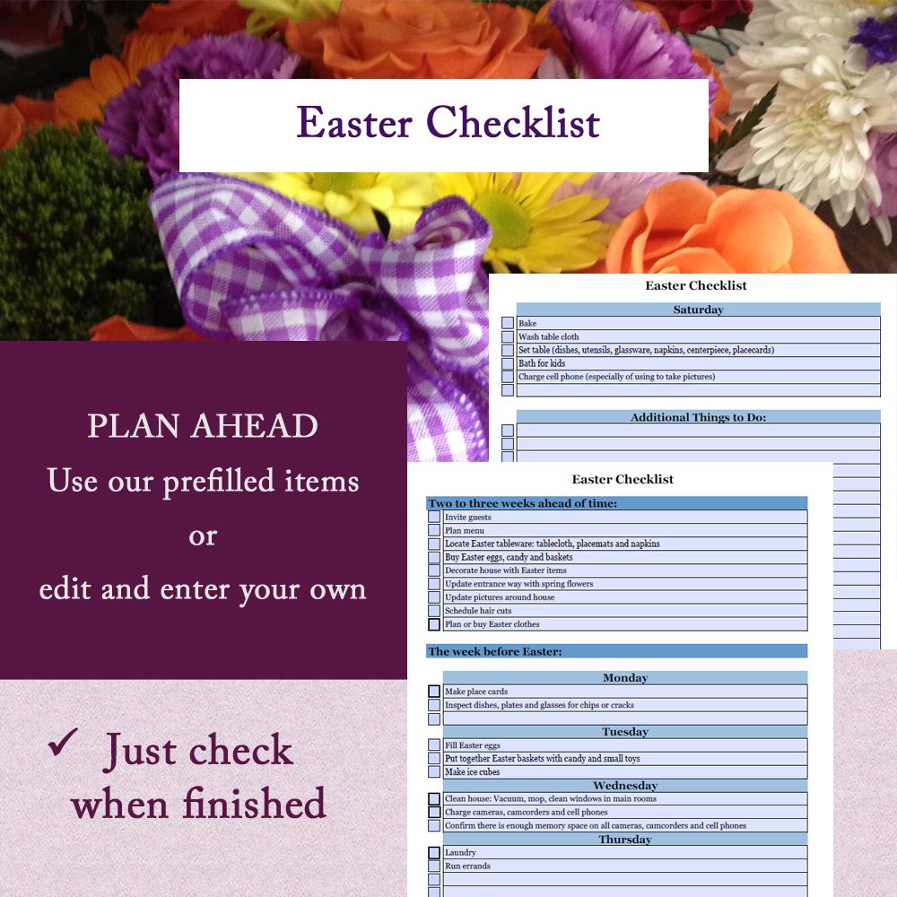 Editable Easter Planner; Editable Easter Checklist