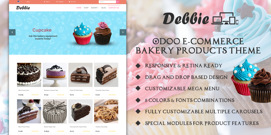 Theme Debbie8 Odoo v8 Ecommerce for Cake Store