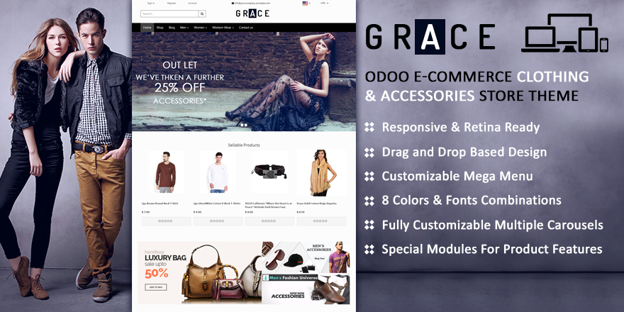 Theme Grace8 Odoo v8 Ecommerce for Fashion Store