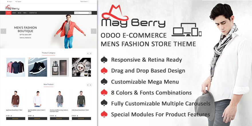 Theme MayBerry Odoo v9 Ecommerce for Mens Fashion Store