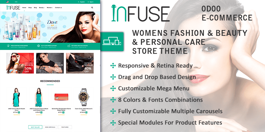 Theme Infuse Odoo v9 Ecommerce for Womens & Beauty & Personal Care Store