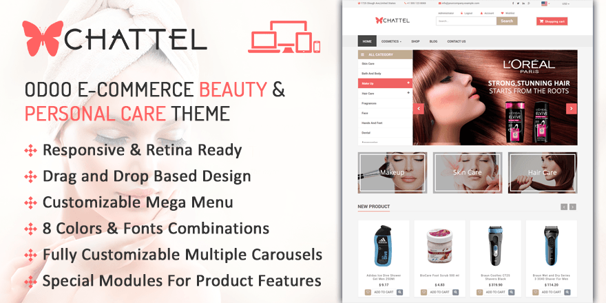 Theme Chattel Odoo v9 Ecommerce for Beauty & Personal Care Store