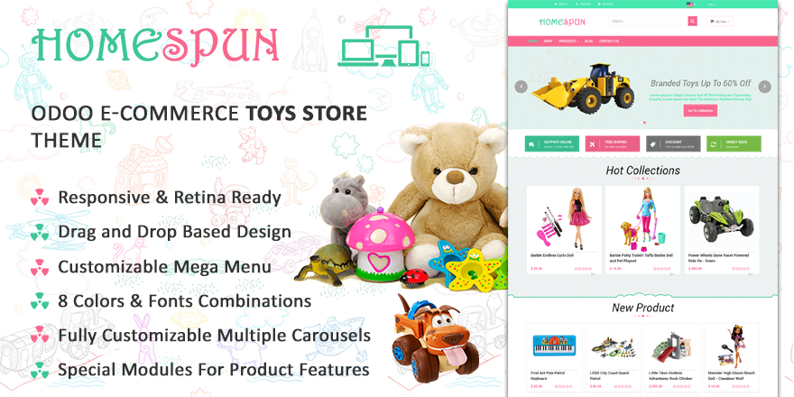 Theme Homespun Odoo v9 Ecommerce for Toy Store