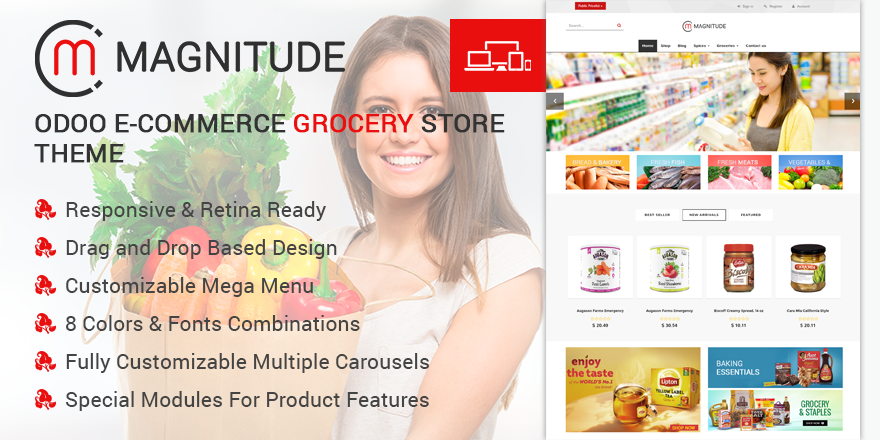 Theme Magnitude Odoo v9 Ecommerce for Grocery Store