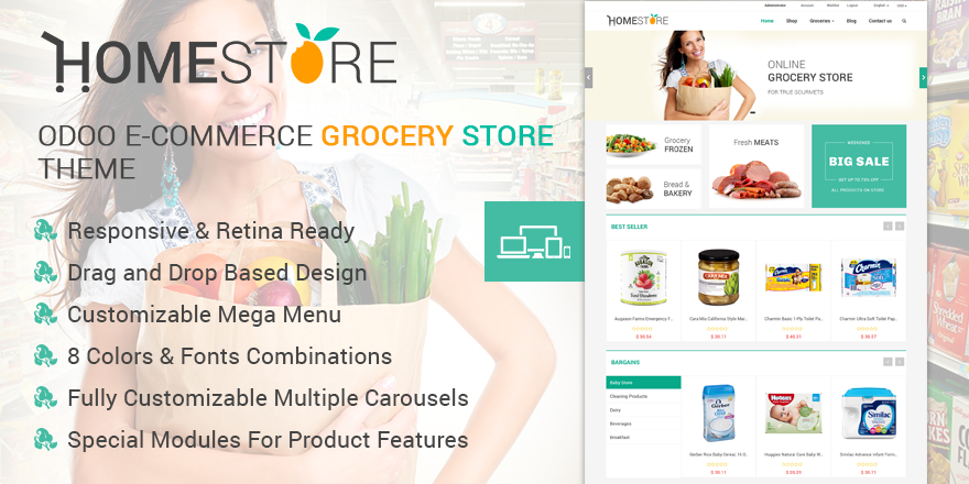 Theme HomeStore Odoo v9 Ecommerce for Grocery Store