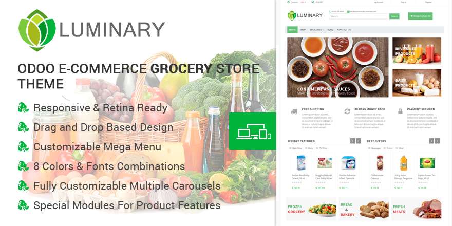 Theme Luminary Odoo v9 Ecommerce for Grocery Store