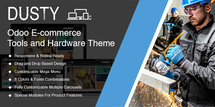 Theme Dusty Odoo v9 Ecommerce for Tools Store