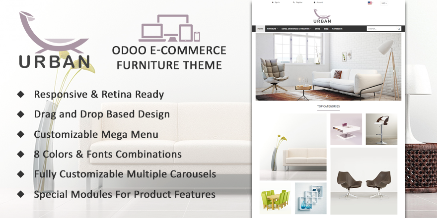 Theme Urban Odoo v9 Ecommerce for Furniture Store