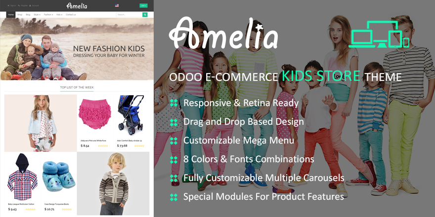 Theme Amelia Odoo v9 Ecommerce for Kids Store